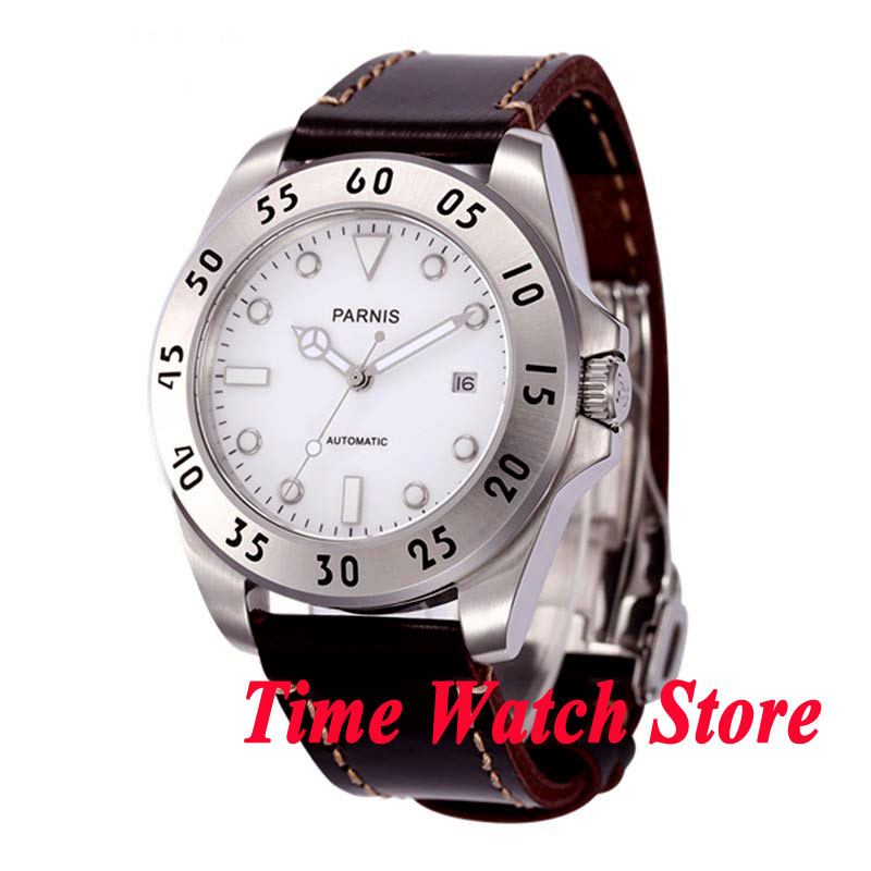 Parnis 43mm white dial 10ATM 21 jewels MIYOTA Automatic movement mens watch 602Parnis 43mm white dial 10ATM 21 jewels MIYOTA Automatic movement mens watch 602