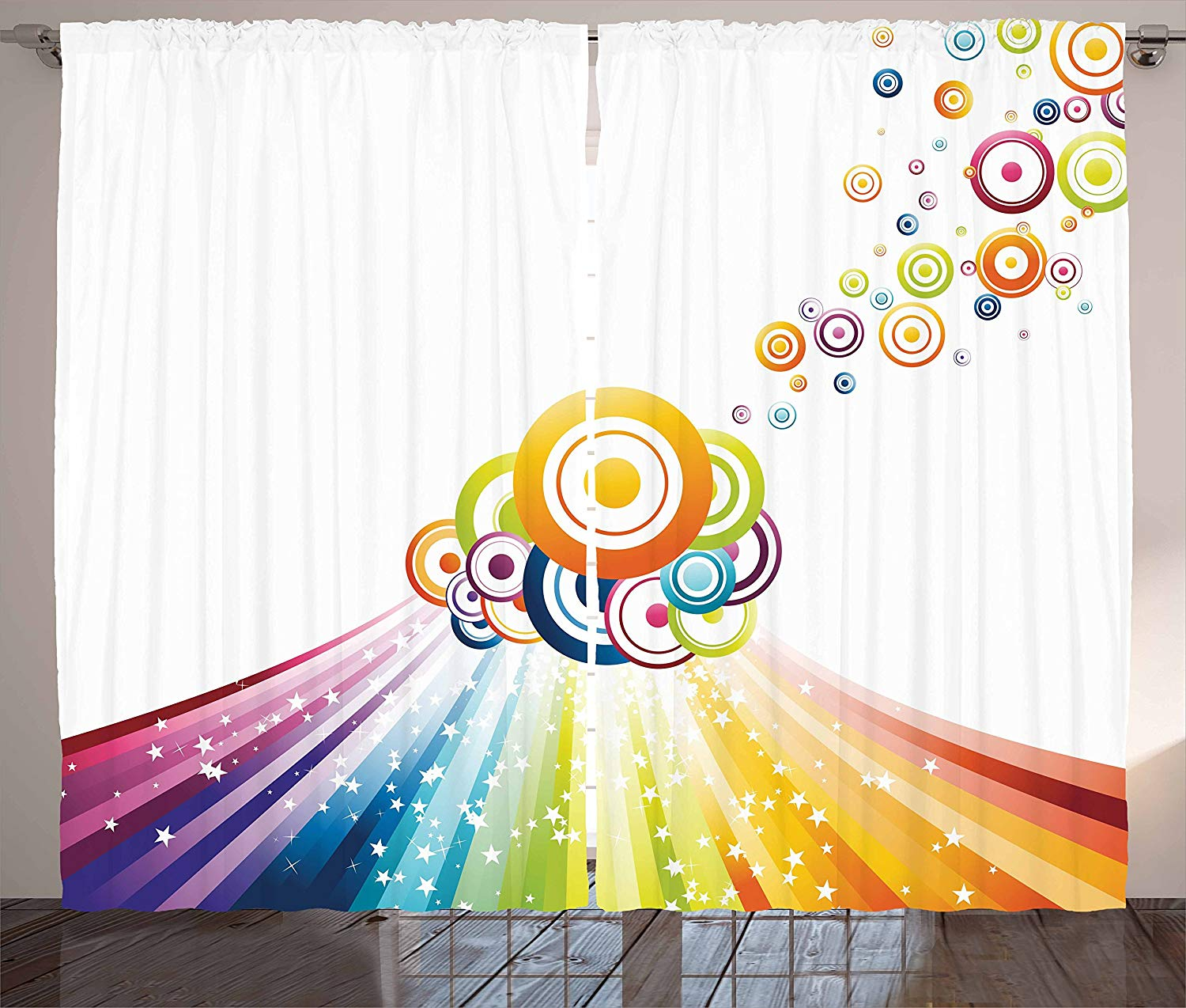 Vintage Rainbow Curtains Colorful Stripes Wave And Bullseye Circles Pattern With Stars Illustration Living Room Bedroom Window