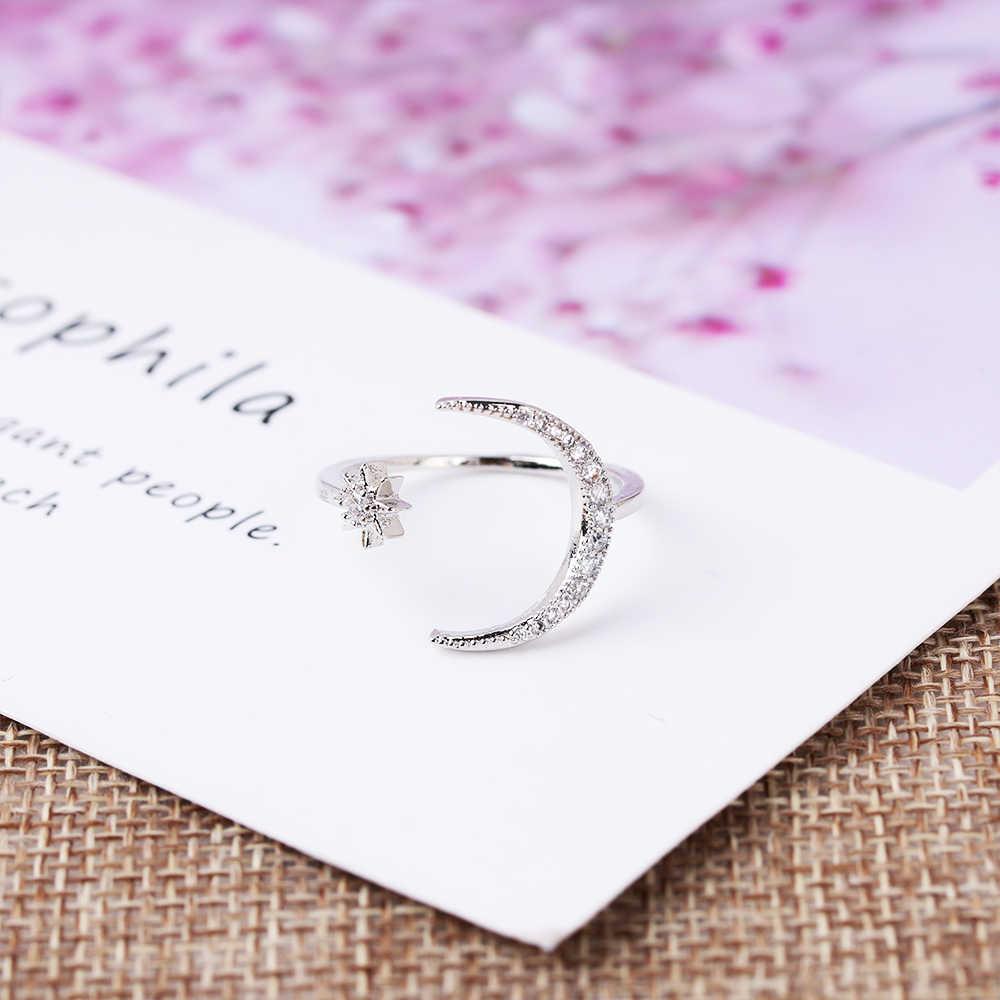 Кольца с Луной и звездой обручальные свадебные кольца 925 посеребренные 18 K позолоченные полумесяц модные ювелирные изделия Регулируемые 5-12