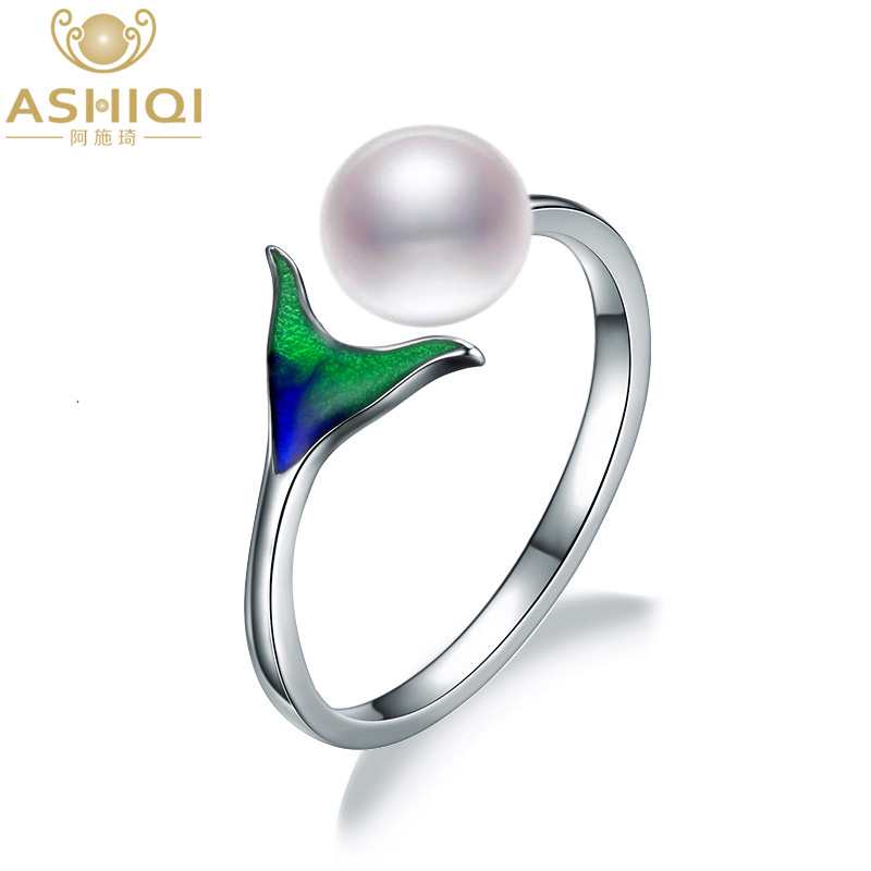 Ashiqi Enamel Mermaid 925 Sterling Silver Ring 7-8Mm Pure Freshwater Pearl Ring Open Finger For Girls Jewellery