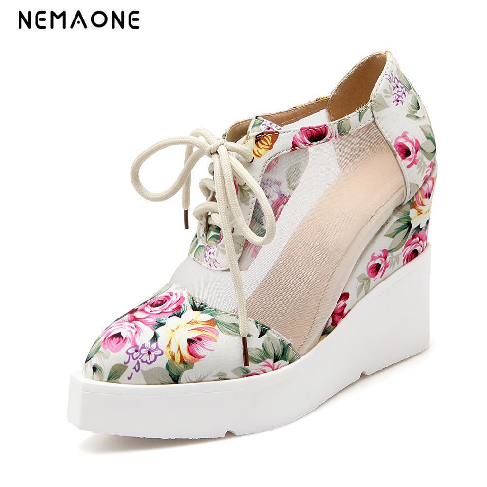 NEMAONE Large Size 34-42 Women High Heels Shoes Fashion Lace Up Wedges Pumps Spring Casual Platform Women Shoes