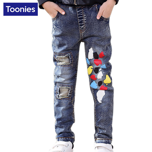 67fee7d901da Kids Autumn Boys Jeans Boys Trousers Kids Hole Jeans Denim and Cotton Boys  Fashion Jeans 2017