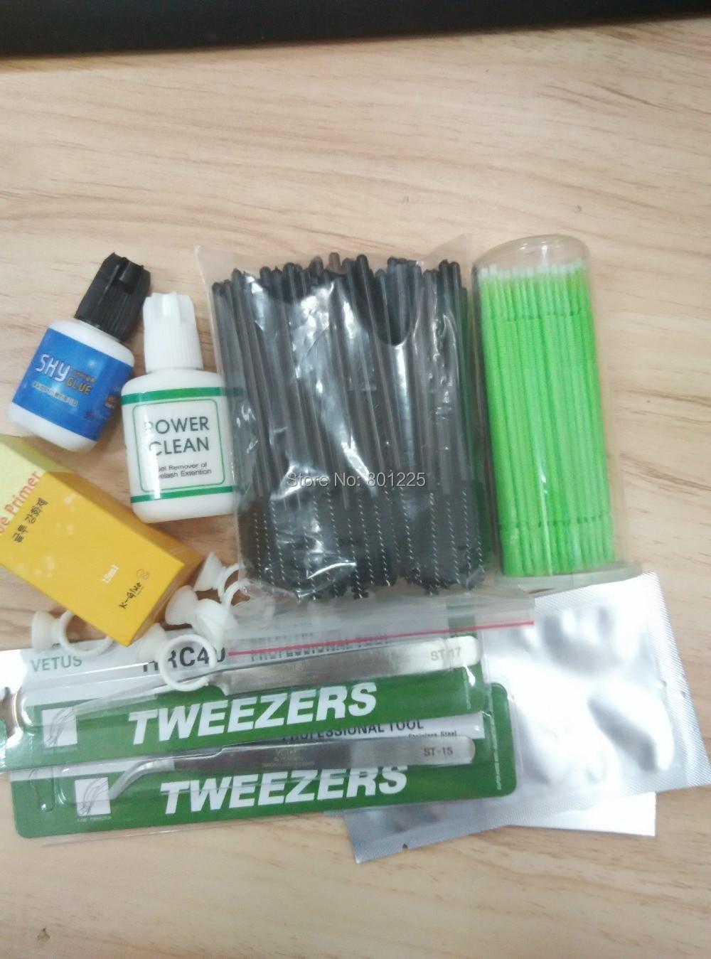ФОТО wholesale price eyelash extension makeup tool kit glue 1 set