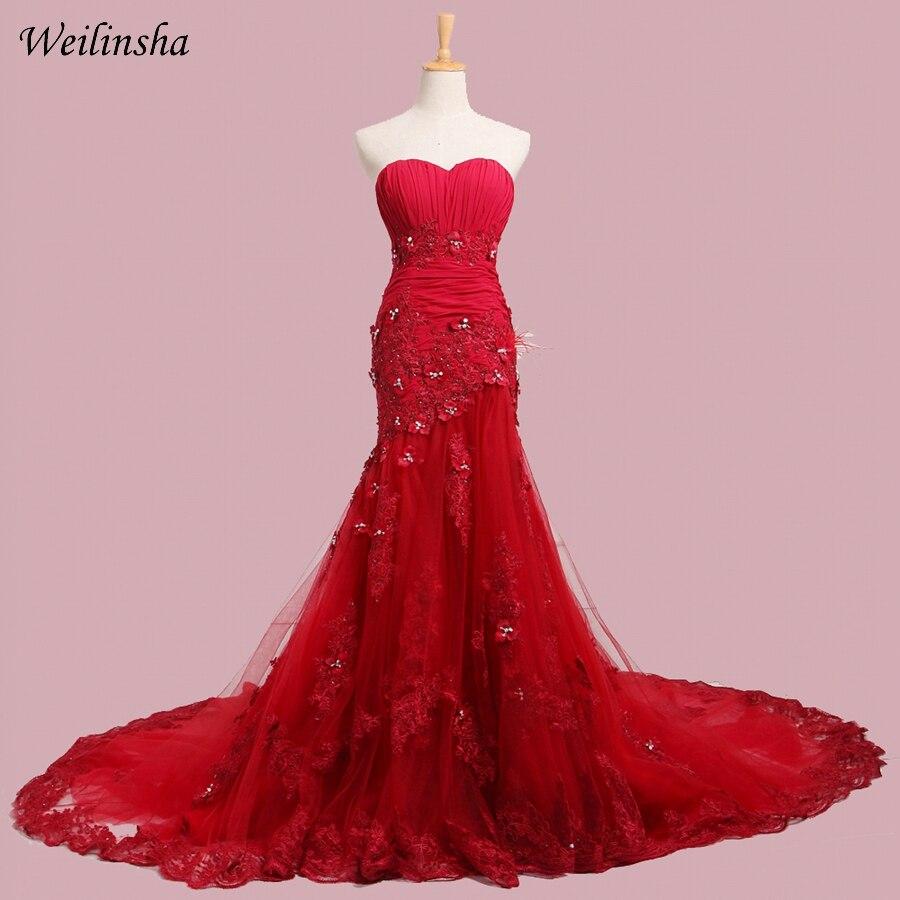 Gaun Pengantin Merah Weilinsha Sexy Sayang Tanpa Lengan Tull Mermaid Bridal Gowns Lace-up Back