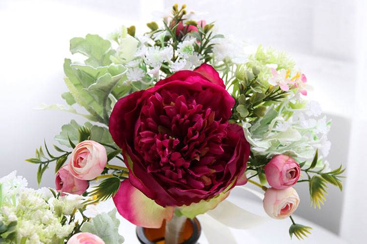 Wedding Bouquet for bridesmaids flowers artificial rose peony (11)
