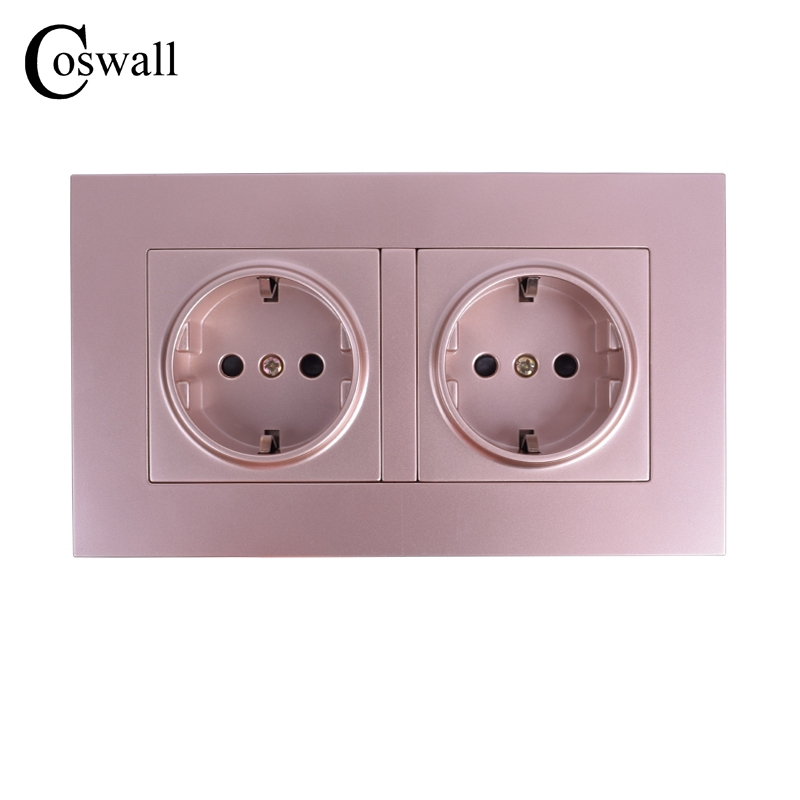 COSWALL High Quality Wall Power Dual Socket Plug Grounded 16A EU Standard Electrical Double Outlet 146 Mm * 86 Mm