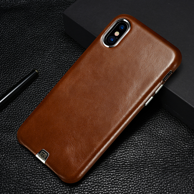 Luxury Vintage Genuine Leather Case For Apple iPhone X Ultra Thin Back Cover Metal Element Cell Phone Cases For iPhone X iPhoneX