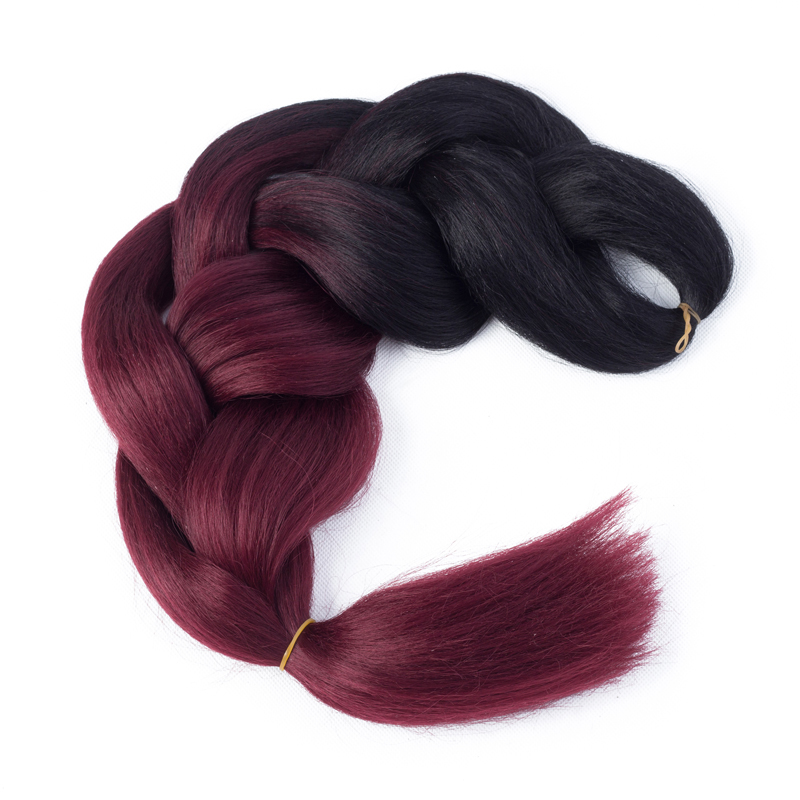 "ELEGANT MUSES 24"" 100g/Pack Black Wine Red Ombre Braiding Hair Extensions Xpression Hair Extensions Synthetic Jumbo Braids 1Pack"