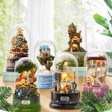 لطيف غرفة DIY دمية المنمنمات دمية منزل غطاء غبار مع اثاث مصغرة خشبية مجسم لمنزل لعب للأطفال B030 # E