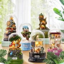 Mignon pièce bricolage maison de poupée Miniatures maison de poupée couverture de poussière avec meubles Miniature en bois maison modèle jouets pour enfants B030 # E