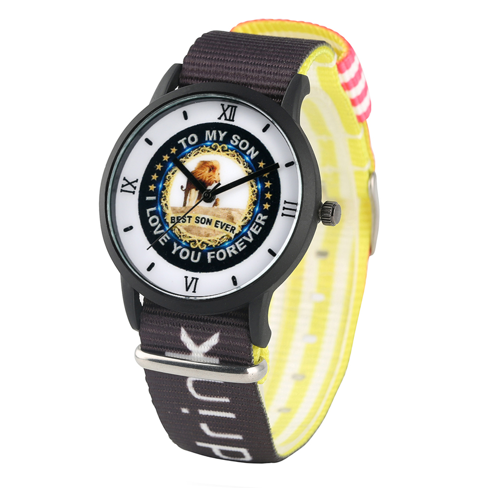 Children's Watch Lion King Pattern Quartz Watch To My Son Logo Dial Watches For Boys Nylon Strap Wristwatch Watch For Kids Child