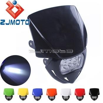 Universal Motorcycle Dirt Bike LED Headlight Fairing For KTM Suzuki DR KLR KLX KX XT YZ EXC XC MX Enduro Supermoto Headlamp Mask