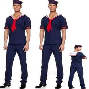 Image 1 - Adultes homme marine marin Cosplay Costume mâle scène Performance Costumes mascarade robe de soirée pourim Halloween noël