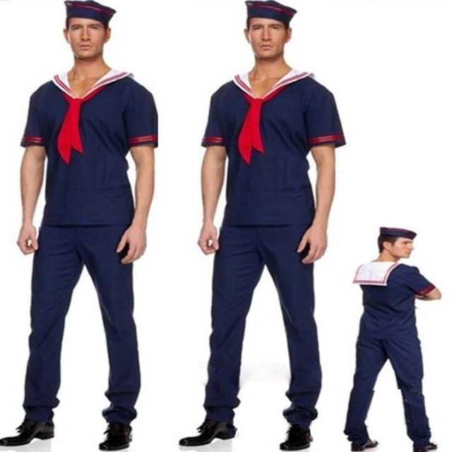 Adults Man Navy Sailor Cosplay Costume Male Stage Performance Costumes  Masquerade Party Dress  Purim Halloween Christmas