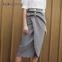 TWOTWINSTYLE Pearls Skirt For Women Ruched Patchwork Striped High Waist Irregular Long Pencil Skirts Summer 2018 Fashion Elegant