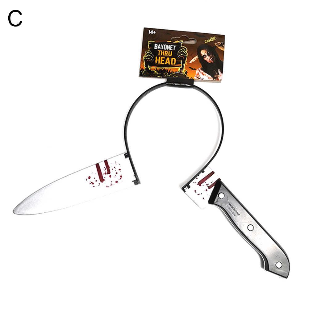 1Pc z tworzywa sztucznego fałszywy nóż z krwi przez głowę zabawki do robienia sztuczek dla dzieci straszny Halloween rekwizyty do dekoracji gry imprezowe
