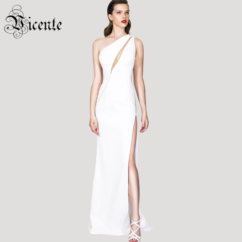 Free Shipping 2018 New Fashion Elegant Zipper Embellished Sexy One Shoulder Wholesale Celebrity Party Bandage Maxi Long Dress