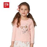 Filles t shirt printemps et automne doux enfants t-shirt 2016 designer marque doux renard impression enfants filles top enfants tee taille 4-11y