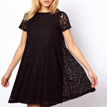 Short Sleeve Hollow Out Plus Size Loose Lace Dress Summer Casual O Neck Dress S-4XL