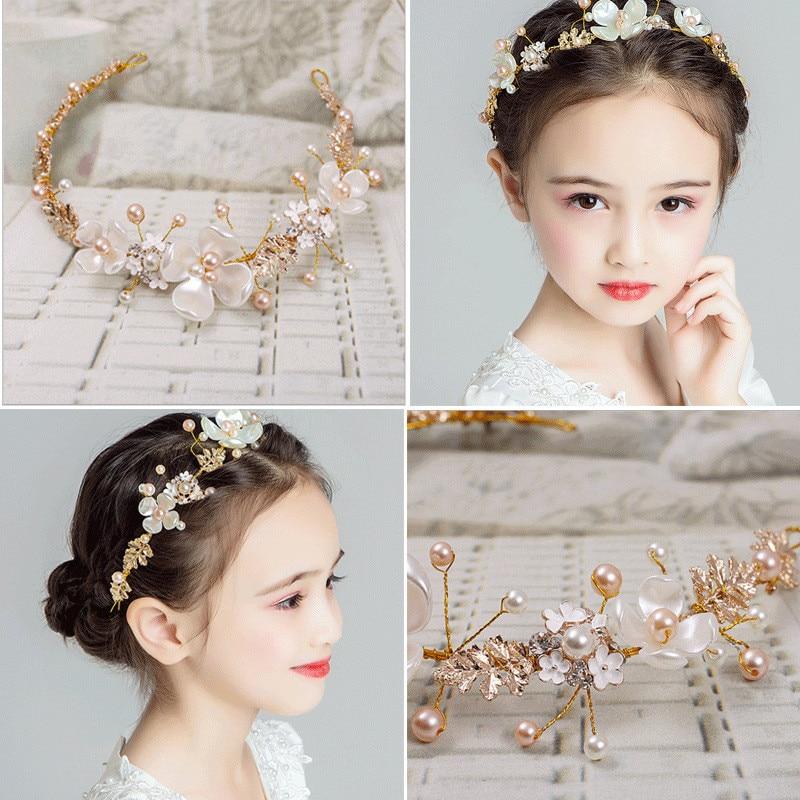 Hair Accessories For Girls Kids Flower Crown Adjustable Flower Headband Pearls Head Wreath Korean Hair Accessory Headwear