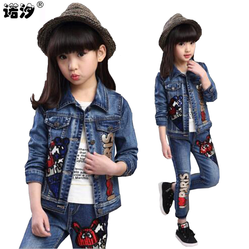 Girls clothing sets Children clothes kids cotton jeans cowboy style outwear sets children spring autumn girls jacket 5-13 Y new autumn sweet girls sets two piece cardigan outwear cape jacket long sleeve dress cotton lace kids girls clothes sets