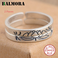 BALMORA 2 Pieces Solid 925 Sterling Silver Lotus Flower Rings For Women Lover Anniversary Gift Retro