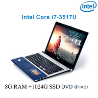 "dvd נהג ושפת 8G RAM 1024G SSD השחור P8-18 i7 3517u 15.6"" מחשב נייד משחקי מקלדת DVD נהג ושפת OS זמינה עבור לבחור (1)"