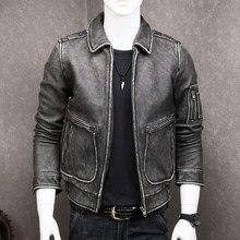b593cd43e5d88 HARLEY DAMSON Vintage Black Men Pilot Leather Jacket Plus Size 5XL Genuine  Thick Cowhide Russian Winter Flight Leather Coat