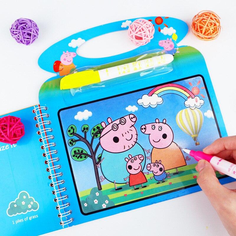 Pinturas de água da peppa pig, pinturas mágicas para crianças, uso repetido, criativo, artesanal, faça você mesmo, presente de brinquedo de pintura