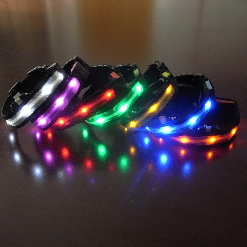 Светодиодный ошейник для Товары для собак нейлон ночь Детская безопасность Glow проблесковый маячок Up поводок головка жгут световой щенок Це...