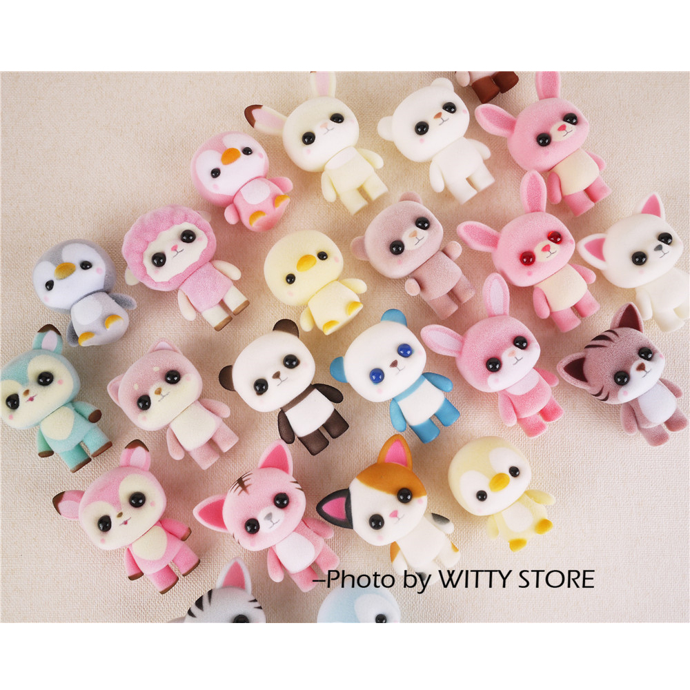 20pcs Little Cute Flocking Doll Toys Kawaii Mini Cats Car Decoration Toys For Girls Exquisite Dolls Christmas Gifts For Girls kawaii pvc flocked dolls furry animals cars and desk decorate cute dolls exquisite collection flocking toys gifts for new year