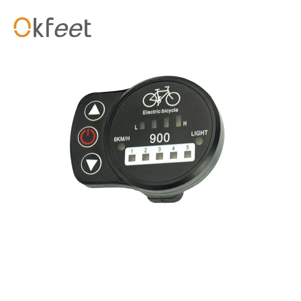 Ebike 24v 36v 48v Intelligent Black Kt Electric Vehicle Parts Ed900 Control Panel Led Display Electric Bicycle Bike Parts For Kt Controller