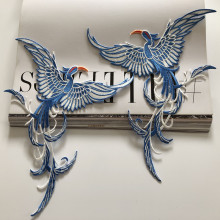 SASKIA 1Pair Phoenix Bird Embroidery Patch Animal Applique Iron Clothes Sewing On Clothing Accessory Diy Patchwork Patches Blue