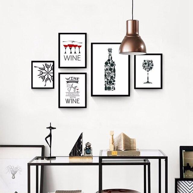 Moderne abstrait creative personnalit vin bouteille toile art print affiche de peinture mur - Poster cuisine moderne ...