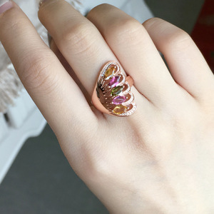 Image 5 - [MeiBaPJ naturalny turmalin kamień moda kolorowy kamień kwiatowy pierścień dla kobiet prawdziwe 925 srebro urok biżuterii