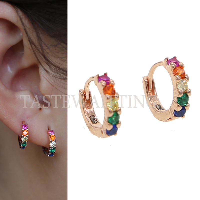 a7e765e57e96 colorful cz multi color stone romantic chic gorgeous ladies rainbow jewelry  for women girls 925 sterling cute mini hoop earring