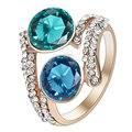2017 nova mulheres anel de dedo da jóia frete grátis céu azul de cristal strass branco configuração única barato anéis da faixa do casamento