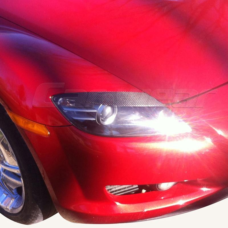 Carbon Fiber Car Headlight Eyelid Eyebrows Cover Trim for Mazda RX8 2005-2010