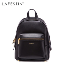 LAFESTIN Leather Mini Backpack Women Casual Bags Solid Backpack Girls School Bags Real Leather Backpack Mochilas