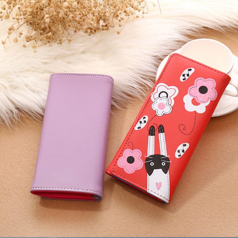 Lovely cartoon prints long Wallet Lady mini Zipper Clutch Female Travel card holder bag Coin Cash pocket womens wallet and purse 5