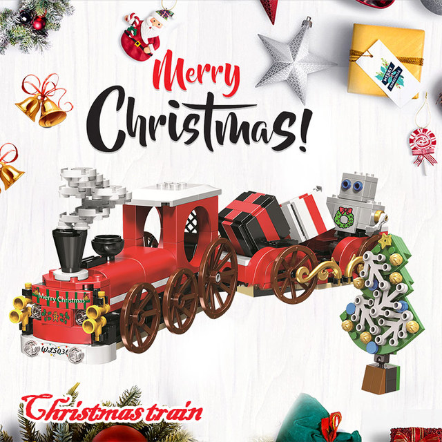Creative Christmas Winter Holiday Series Christmas Train Building Blocks Bricks Kits Toys For Children Gift
