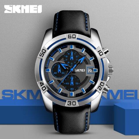 SKMEI 2017 New Chronograph Stopwatch Quartz Men Watches Brand Men Military Leather Men Sports Watch Waterproof Relogio Masculino Multan