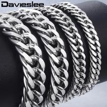 Wholesale Bracelet Jewelry Chain Cuban-Link Stainless-Steel Davieslee Men LKBM07 Curb