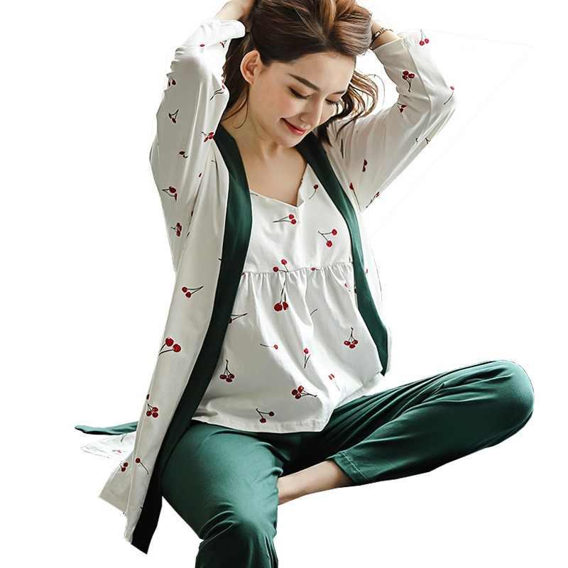 edd4c7b76815b 3Pcs/Set Maternity Sleepwear Spring Autumn Breastfeeding Pajama Fashion  Cotton Sling Three-Piece Cardigan