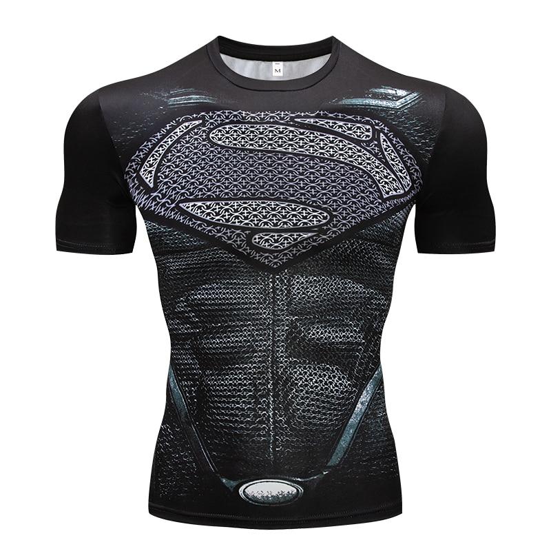 Superman Tshirts Men Compression   Shirts   Batman Tops The Flash   T  -  shirts   Fitness Crossfit Tees Bodybuilding Camiseta Rashguard