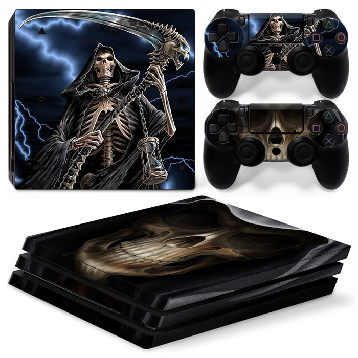 free drop shipping for skull man design for ps4 pro sticker console and 2 controller vinyl skin #TN-P4Pro-0139