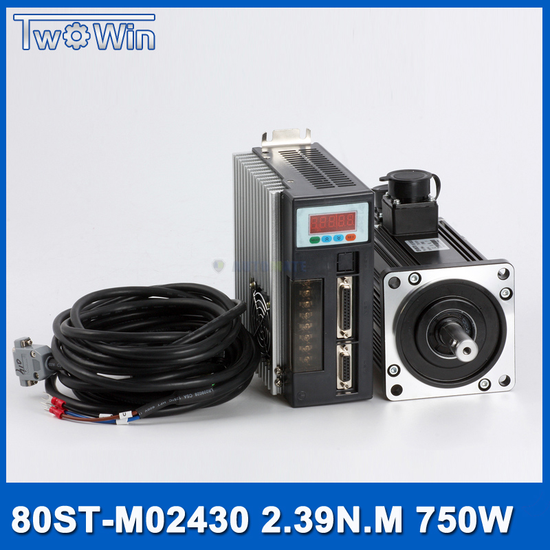 750 Вт AC сервомотор + Drive Kit 2.39Nm 220 В 3000r/мин NEMA32 80 мм 80ST-M02430 для Материал конвейерная установка с 3 м кабель