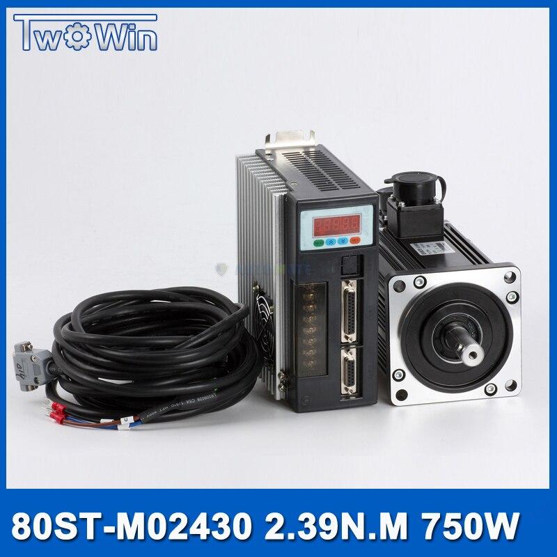 750 w AC Servo Moteur + Drive Kit 2.39Nm 220 v 3000r/min NEMA32 80mm 80ST-M02430 pour Matériel Machine de transport avec 3 M câble