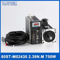 750w AC Servo Motor+Drive Kit 2.39Nm 220v 3000r/min NEMA32 80mm 80ST M02430 for Material Conveying Machine with 3 M cable