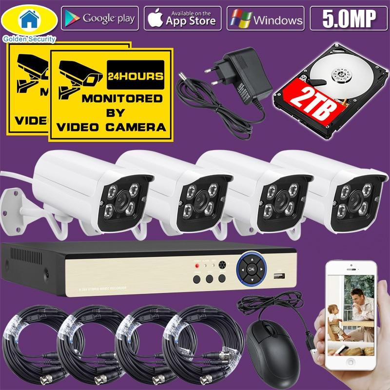 Golden Security 4CH DVR Kit 5 0MP HD CCTV Camera Surveillance 1080P HDMI Video Security Camera